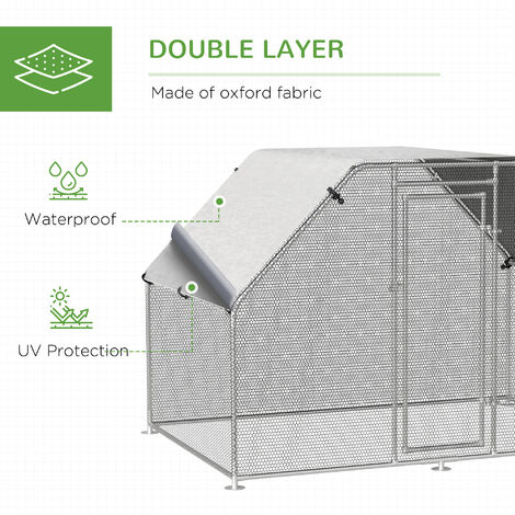 Pawhut Galvanized Metal Chicken Cage Coop Outdoor Garden w/ Water-Resistant Roof