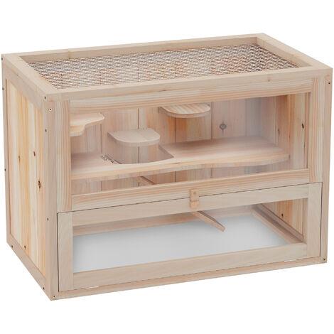 PawHut® Hamsterkäfig Mäusekäfig Nagerkäfig Holz 60 x 35 x 42cm