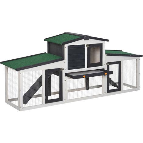 PawHut® Hasenstall Hasenkäfig Doppelstöckiger Kaninchenstall mit Freigehege Kiefer - dunkelgrau/weiß