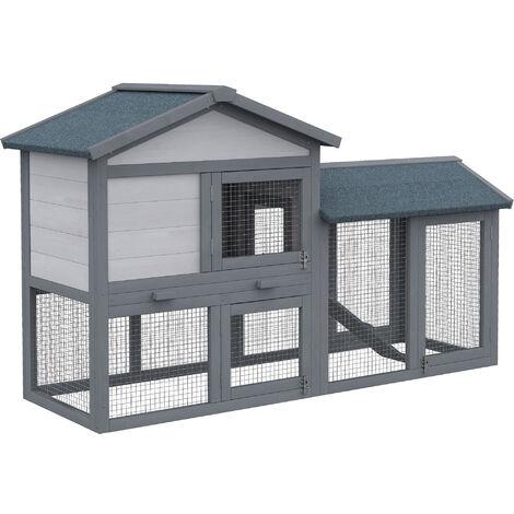 PawHut® Hasenstall Hasenkäfig Hühnerstall mit Freilauf Tannenholz Grau 147 x 54 x 84 cm