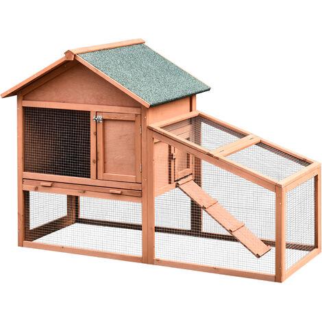 PawHut® Hasenstall, Kaninchenstall, Doppelstöckiger Hasenkäfig, mit Garten, Massivholz 144 x 64,5 x 100 cm - natur/grün