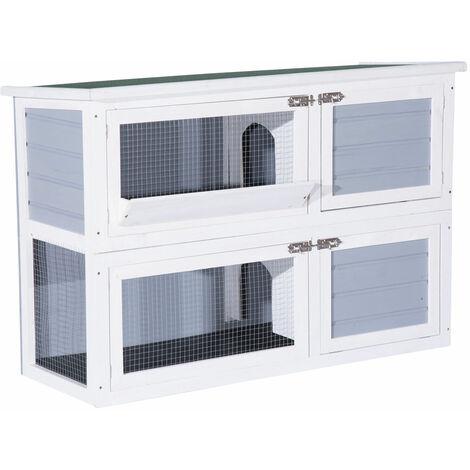 PawHut® Hasenstall Kaninchenstall Hasenkäfig Kaninchenkäfig Kleintierstall 2 Ebenen Weiß 125 x 49 x 83 cm - grau/weiß