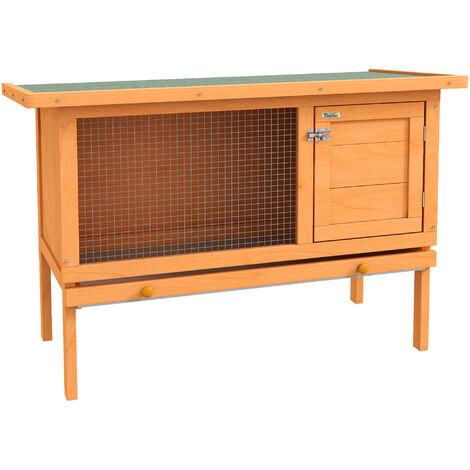 PawHut® Hasenstall Kaninchenstall Holz 90x45x65cm - natur/grün