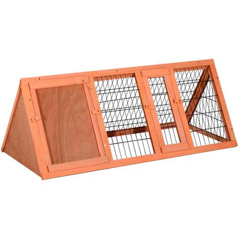 PawHut® Hasenstall Kaninchenstall Kleintierstall mit Freigehege Hasen Auslauf dreieckig - natur
