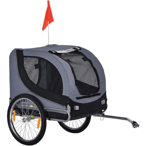 Pawhut® Haustiertransporter Hundebuggy Fahrradanhänger Jogger Schiebewagen Anhänger für Hunde 600D Oxford Stahlrohr Schwarz Grau 130 x 90 x 110 cm