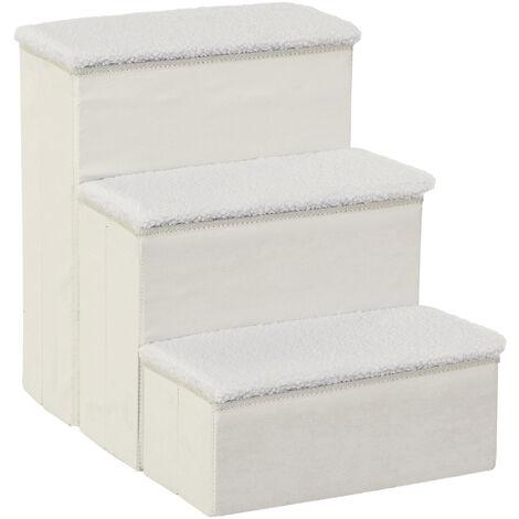 PawHut® Haustiertreppe Katzentreppe Einstiegshilfe Faltbar mit Innenstauraum MDF Weiß 40 x 54 x 48 cm