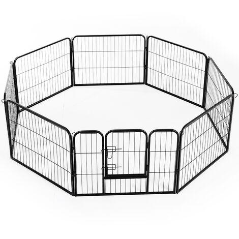 "main image of ""PawHut Heavy Duty Dog Pet Puppy Metal Playpen Play Pen Rabbit Pig Hutch Run Enclosure Foldable Black 80 x 60 cm (Small)"""