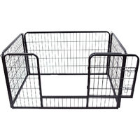 PawHut Heavy Duty Dog Pet Puppy Metal Playpen Rabbit Hutch Run Enclosure Foldable Black 125 x 80 x 70 cm