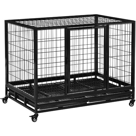 PawHut Heavy Duty Metal Dog Kennel Pet Cage with Crate Tray and Wheels Black