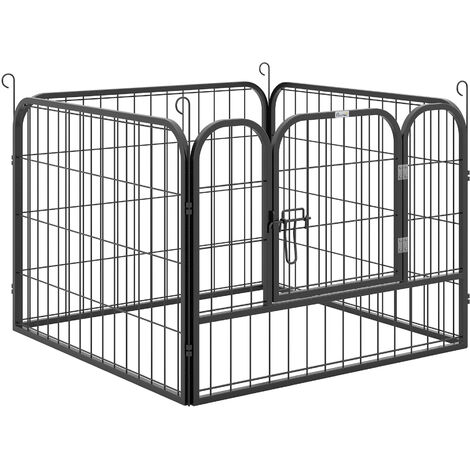 PawHut Heavy-Duty Metal Pet Playpen Freestanding w/ Latched Door 60x82cm