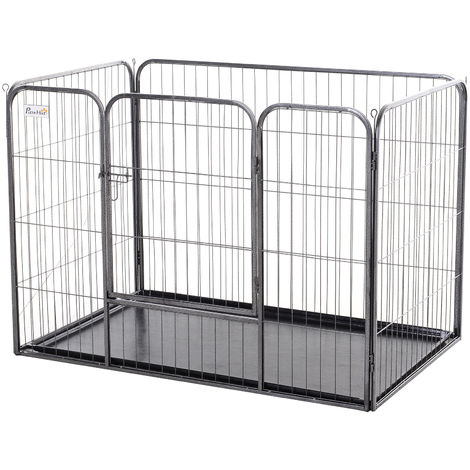 PawHut Heavy-Duty Metal Pet Playpen Freestanding w/ Latched Door 90x125cm