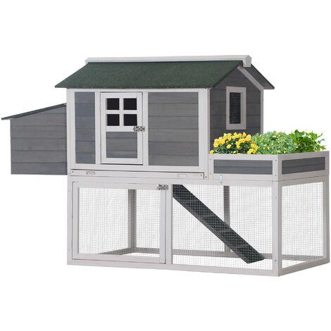 PawHut® Hühnerstall Hühnerhaus mit Nistkasten Pflanzkasten Grau Holz Metalldraht Asphalt - grau