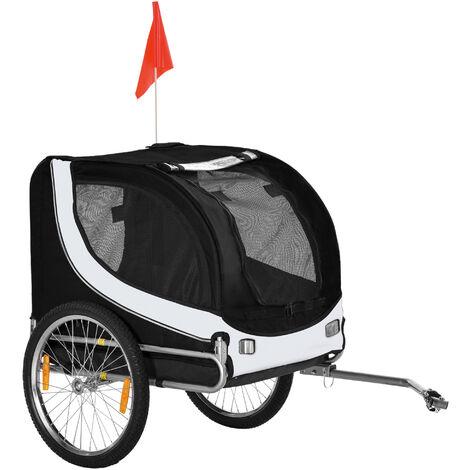 Pawhut® Hundeanhänger für Fahrräder | 600D Oxford, Stahl | 130 x 90 x 110 cm | Weiß, Schwarz