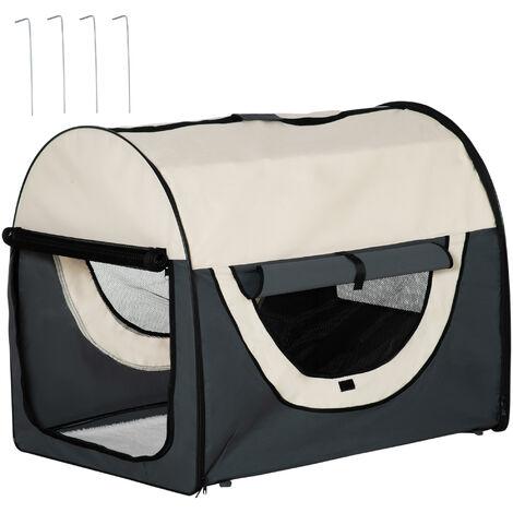 PawHut® Hundebox XXL faltbare Hundetransportbox Autokorb dunkelgrau-creme (97x71x76 cm) - dunkelgrau/creme
