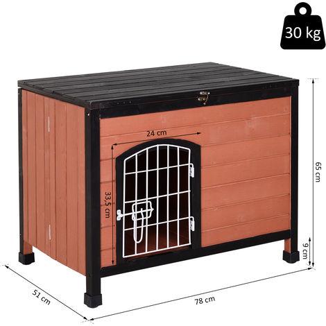PawHut® Hundehaus, Hundehhütte, Hundezwinger mit Drahttür, Offenbares Dach, Massivholz