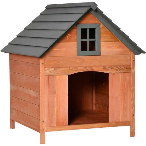 PawHut® Hundehütte Hundehaus Hundehöhle Wasserfest für Außenbereich Massivholz Natur 81,3 x 91,5 x 98,5 cm