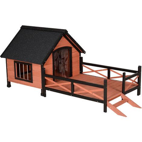 PawHut® Hundehütte mit Terrasse | Hundehaus | Massivholz | Braun | 91 x 194,5 x 83 cm