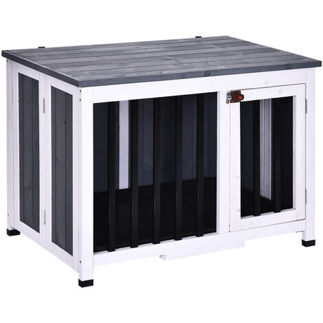 PawHut® Hundekäfig Hundebox Faltbar Hundehütte Hundehaus mit Fenster Massivholz Grau 84,5 x 51,4 x 61 cm