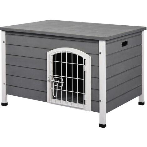 PawHut® Hundekäfig mit Tür Hundebox Gitterbox TransportKäfig für Katzen Tanne Grau - grau