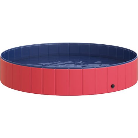 PawHut® Hundepool Hundebadewanne PVC 160 x 30 cm Rot, Blau