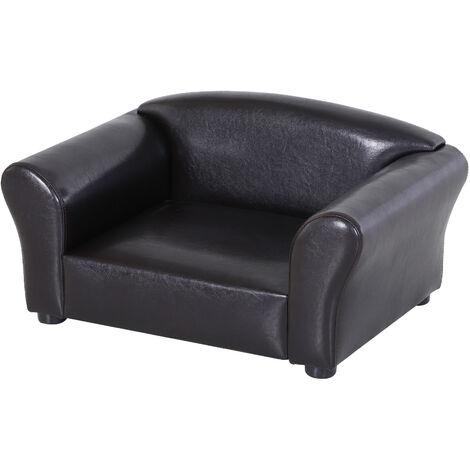 PawHut® Hundesofa Hundebett Hundecouch Haustierbett Hundematte Kunstleder Dunkelbraun