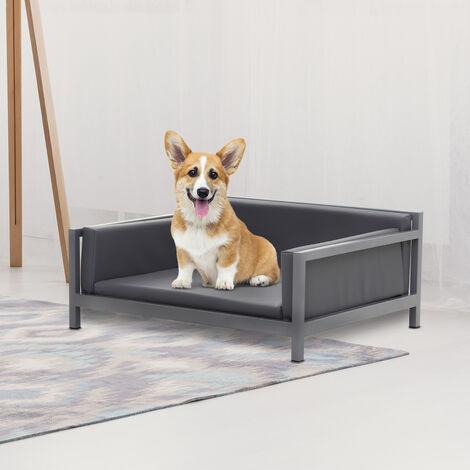 PawHut® Hundesofa Hundebett Hundecouch Haustierbett Hundematte Kunstleder Grau