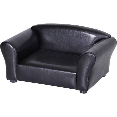 PawHut® Hundesofa Hundebett Hundecouch Haustierbett Hundematte Kunstleder Schwarz