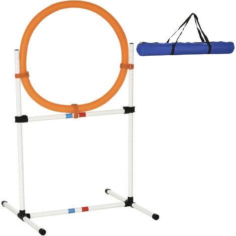 PawHut® Hundetrainingsset Springring für Haustier-Agility-Training tragbar PE Weiß + Orange 74,5 x 66 x 91 cm