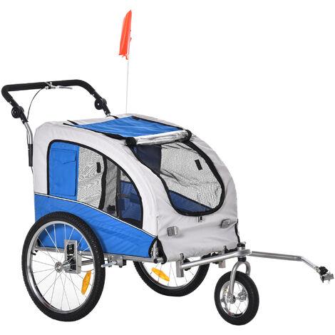 Pawhut Hundetransporter Fahrradanhänger oder Schiebewagen | 600D Oxford, Stahl | Grau, Blau - grau/blau