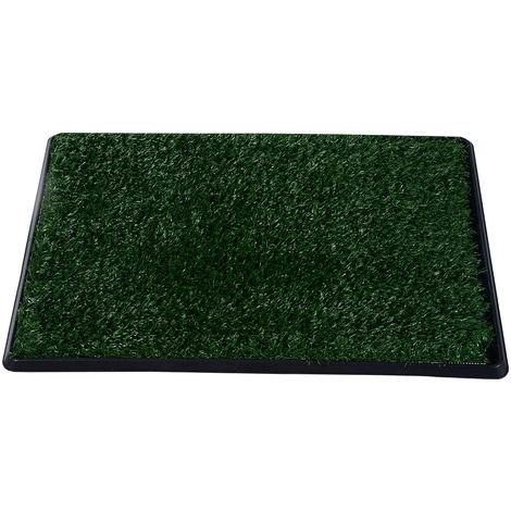 PawHut Indoor Dog Toilet Training Mat Potty Tray Grass Portable - 51L x 64W x 3T (cm)
