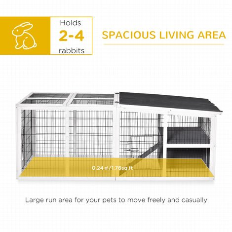 """main image of """"PawHut Indoor Outdoor Wooden Rabbit Hutch Small Animal Cage w/ Hinge Roof Grey"""""""