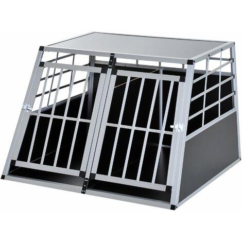 PawHut Jaula Aluminio para Perros Transportín Aluminio de Perro 104x91x69 cm - Negro y Plata