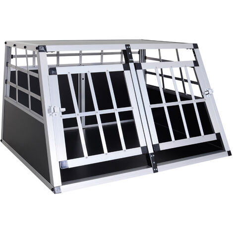 PawHut Jaula Aluminio para Perros Transportín Aluminio de Perro 89,5x68,5x50 cm