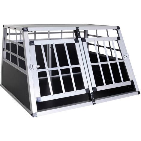 "main image of ""PawHut Jaula Aluminio para Perros Transportín Aluminio de Perro 89,5x68,5x50 cm - Negro"""