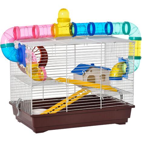 PawHut Jaula para Hamster Casa para Ratoncillos Roedores Animal Pequeño con Escalera, Pista, Molino de Viento Accesorios Incluidos 62x29x52cm