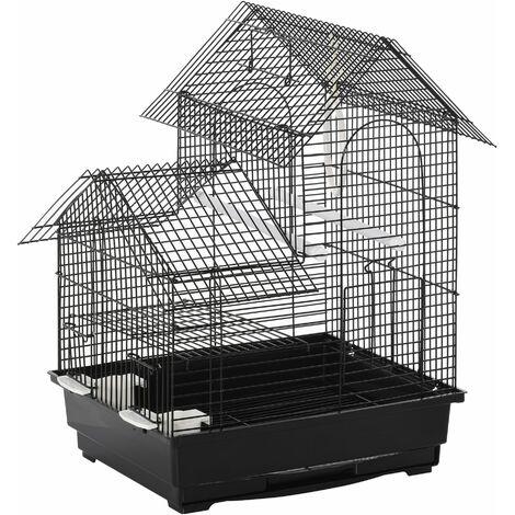 PawHut Jaula para Pájaros con Comederos Perchas y Columpio Bandeja Extraíble 39x34x47cm - Negro