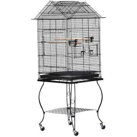 PawHut Jaula para Pájaros con Soporte Ruedas Bandeja Extraíble 2 Comederos 53x53x147 cm - Negro