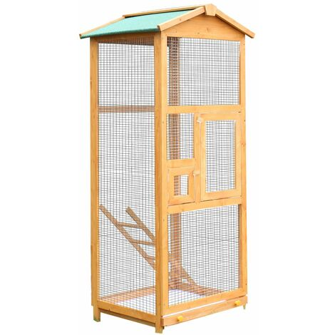 PawHut Jaula para Pájaros de Madera con Bandeja Extraíble Techo Asfáltico 68x63x165 cm - Madera Natural