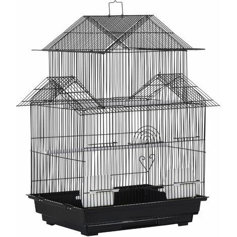 PawHut Jaula para Pájaros de Metal con Bandeja Extraíble Comederos y Perchas 51x40x67cm - Negro