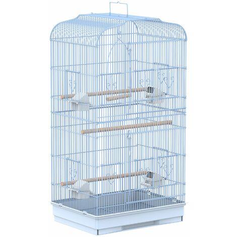 PawHut Jaula para Pájaros Pajarera con 2 Puertas Comederos Perchas para Canario Blanco - Blanco