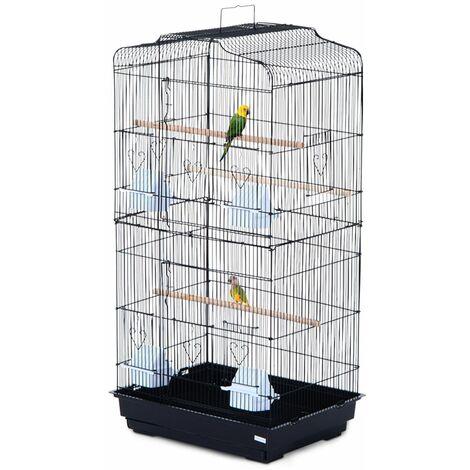 PawHut Jaula para Pájaros Pajarera con 2 Puertas Comederos Perchas para Canario Negro - Negro