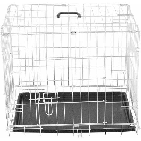 PawHut Transportin de Perros con 2 Puertas Asa Reja de Alambre Acero 106x71x76 cm Plateado