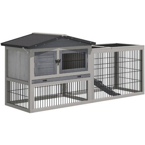PawHut® Kaninchenstall Hasenkäfig Hasen Kombination Kleintiergehege Hasenvilla Hellgrau - hellgrau