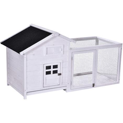PawHut® Kaninchenstall Hasenstall Hasenkäfig mit Laufstall Asphaltdach Massivholz Natur - weiß