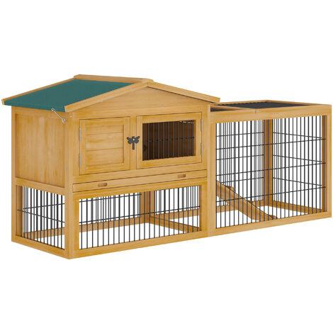 PawHut® Kaninchenstall Hasenstall Hasenkäfig mit Laufstall Doppelstock Massivholz Natur - natur/grün