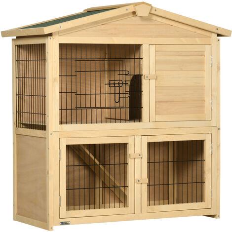 PawHut® Kaninchenstall Hühnerstall Kaninchenhaus für Meerschweinchen Hasen mit Freilauf Tannenholz Natur 98x54x100cm