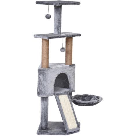 PawHut® Katzenbaum 4-Stock Kratzbaum Katzenhöhle Sisalsäule Kratzbrett Plüsch Grau - grau