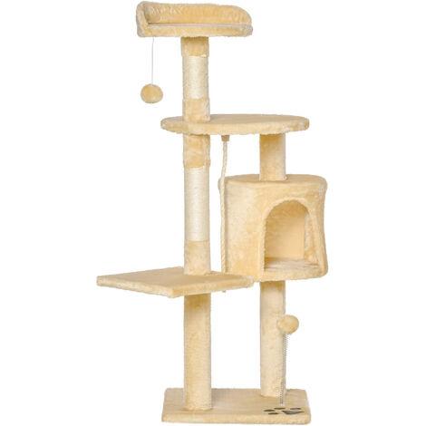 PawHut® Katzenbaum Kratzbaum Schlafhöhle Spielbaum 4 Schichte Beige - beige/weiß