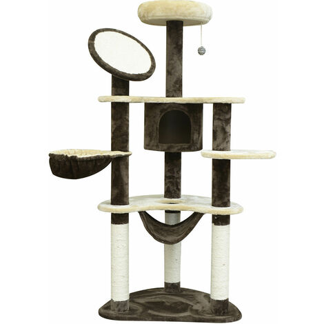 PawHut® Katzenbaum Sisalsäulen 65x50x153 cm creme-kaffebraun - cremeweiß/kaffeebraun