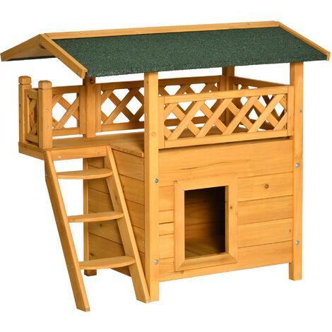 PawHut® Katzenhaus 2-stöckig Katzenhütte Katzenvilla Asphaltdach Balkon Massivholz Natur - natur/grün